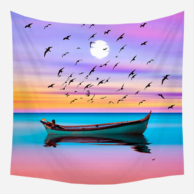 Lone Boat On Pink Sea Tapestry Wall Hanging Tapis Cloth