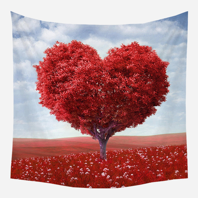 Red Heart Leaves Tree Tapestry