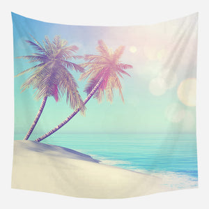 Palm Trees At Beach Tapestry