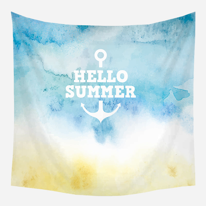 Hello Summer Anchor Tapestry Wall Hanging Tapis Cloth