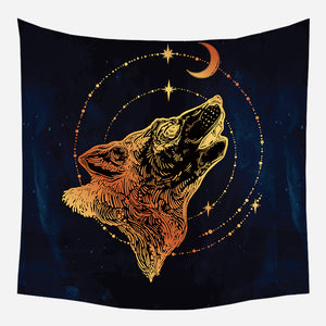 Wolf Howling At Moon Tapestry Wall Hanging Tapis Cloth