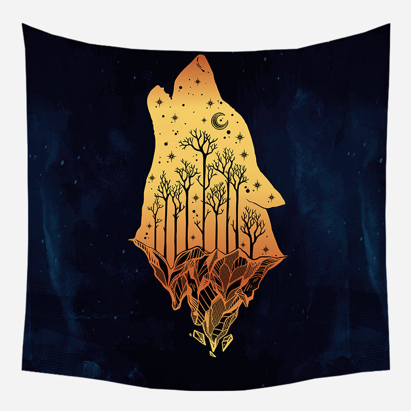 Wolf Howling Tapestry Wall Hanging Tapis Cloth