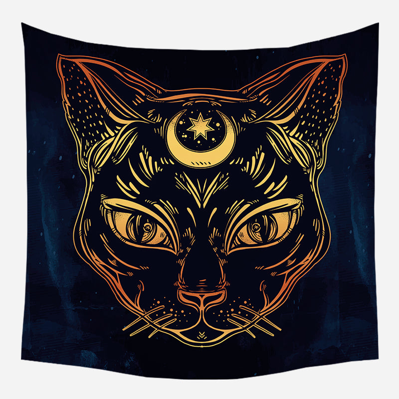 Moon Star Cat Tapestry Wall Hanging Tapis Cloth