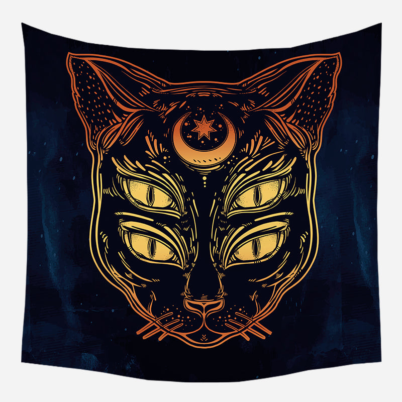 Four Eyed Cat Tapestry Wall Hanging Tapis Cloth