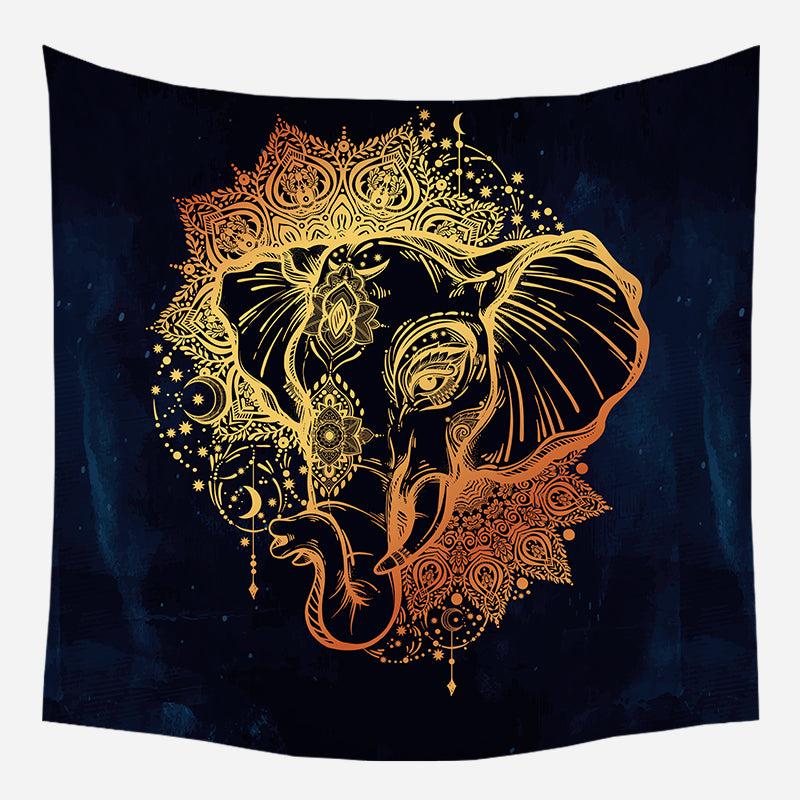 Golden Elephant Head Tapestry Wall Hanging Tapis Cloth