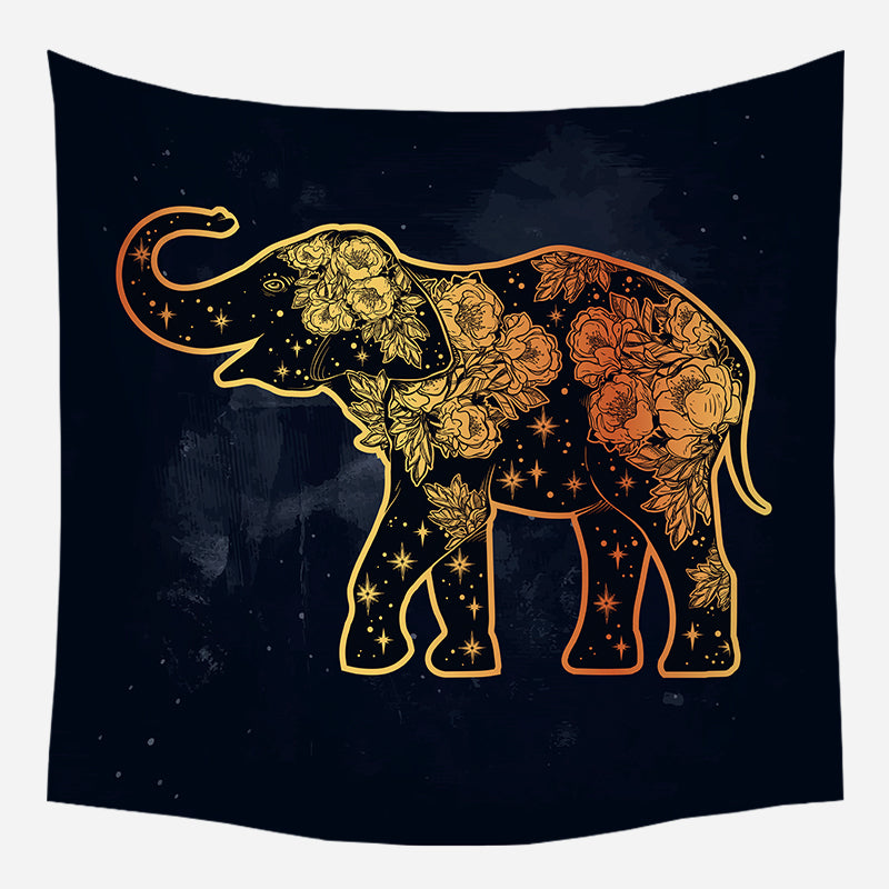 Golden Flower On Elephant Tapestry Wall Hanging Tapis Cloth