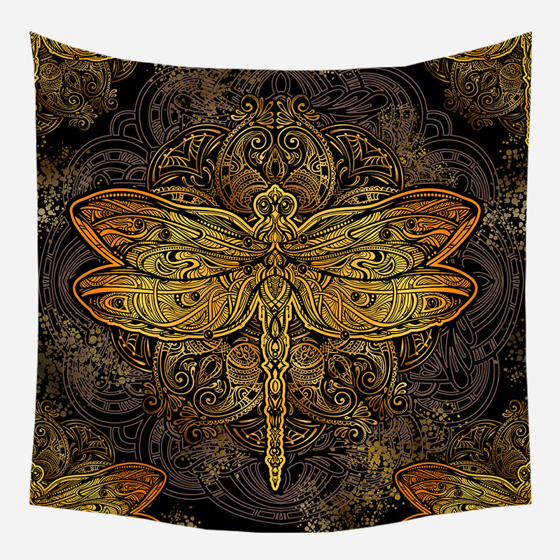 Golden Dragon Fly Tapestry Wall Hanging Tapis Cloth
