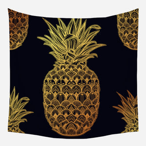 Golden Pineapple Tapestry Wall Hanging Tapis Cloth