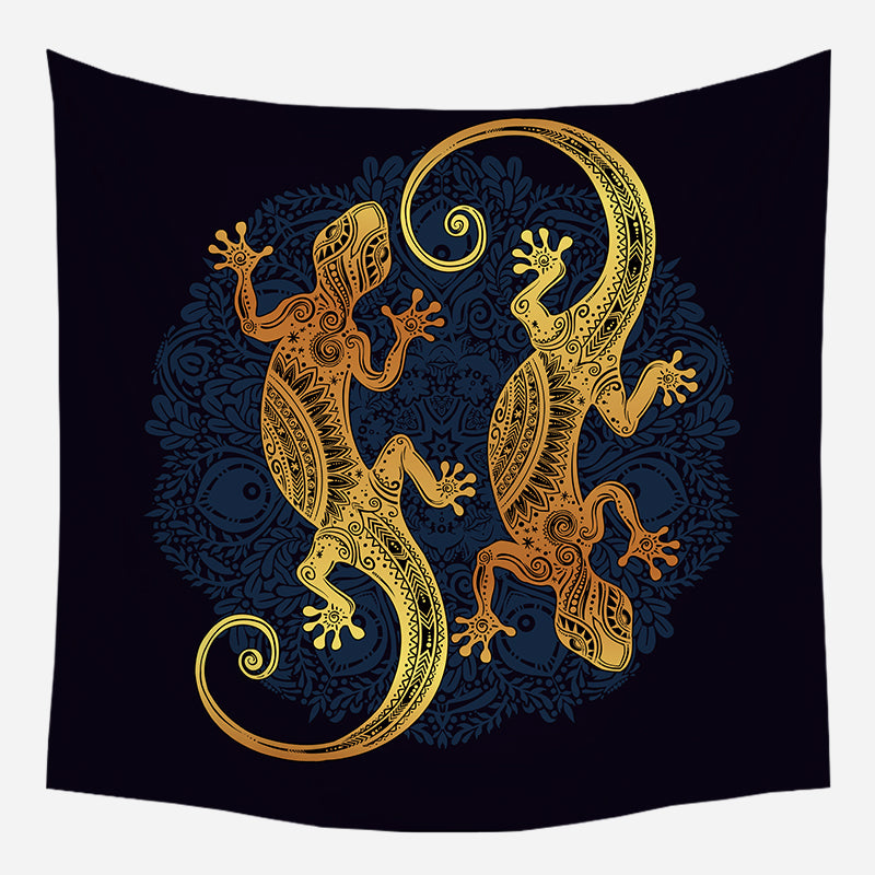 Twin Lizards Tapestry Wall Hanging Tapis Cloth