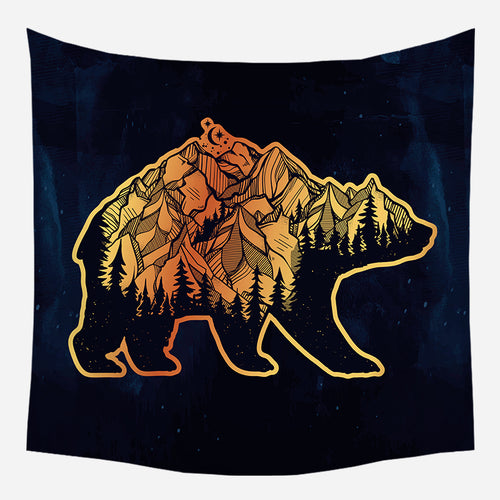 Mountains Back Bear Tapestry Wall Hanging Tapis Cloth