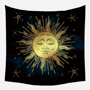 Bright Golden Sun Tapestry Wall Hanging Tapis Cloth