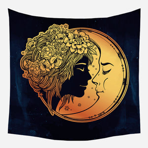 Beautiful Girl With Moon Tapestry Wall Hanging Tapis Cloth