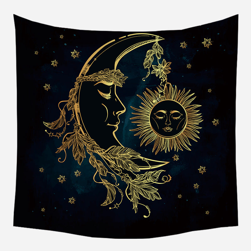 Leaves On Moon Tapestry Wall Hanging Tapis Cloth