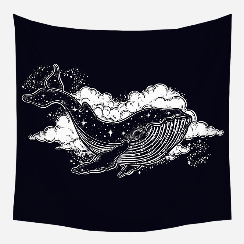 Whale In The Sky Tapestry Wall Hanging Tapis Cloth