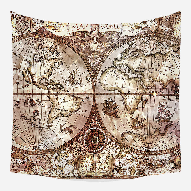 World Globe Map Tapestry Wall Hanging Tapis Cloth