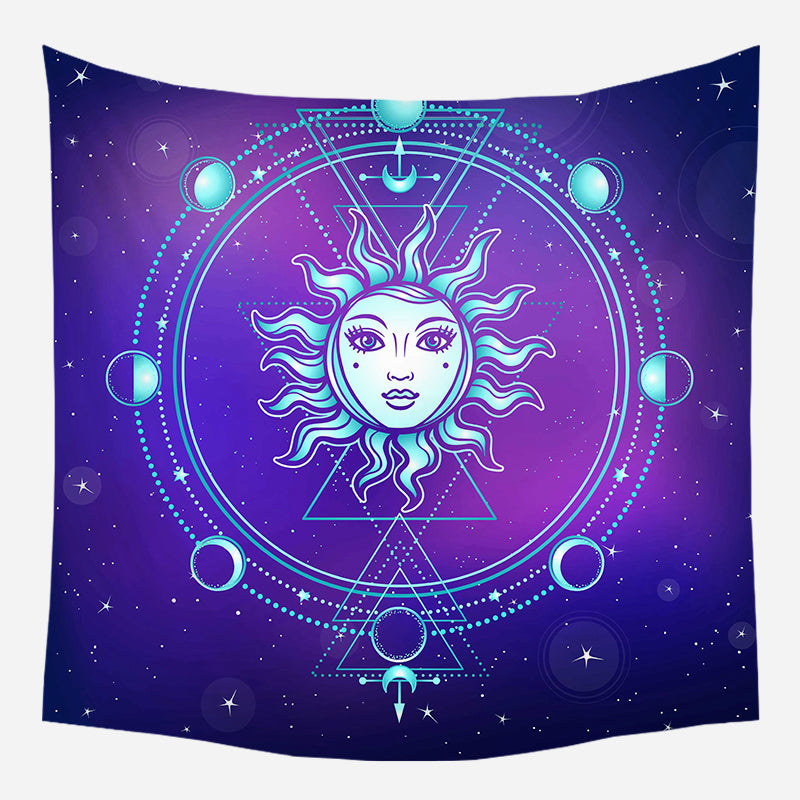 Moon's Evolution Around Sun Tapestry Wall Hanging Tapis Cloth