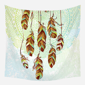 Green Boho Style Tapestry Wall Hanging Tapis Cloth