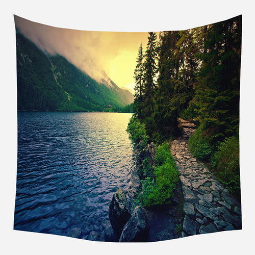 River Mountain Tapestry Wall Hanging Tapis Cloth