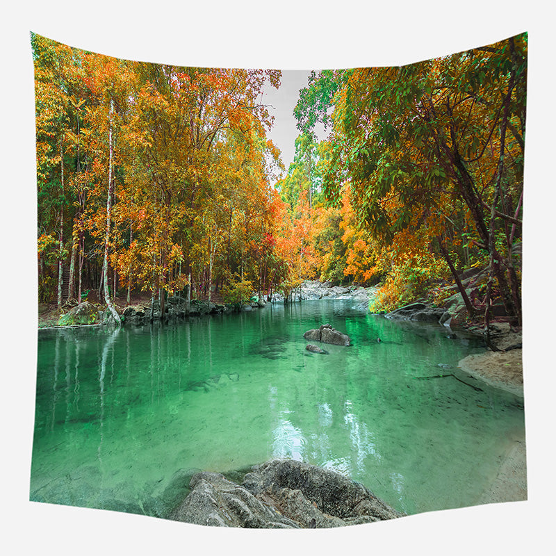 Green Lake Tapestry Wall Hanging Tapis Cloth