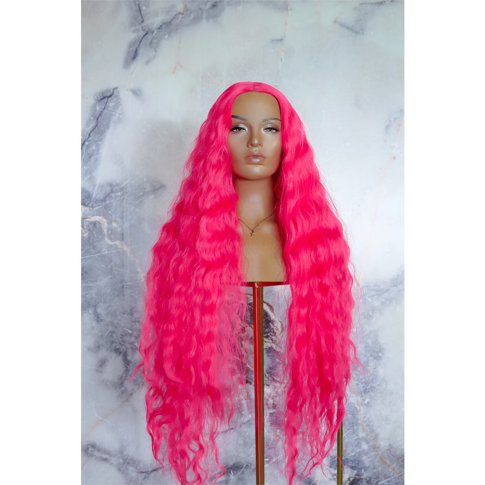 "CARDI 40"" Neon Pink Lace Front Wig"