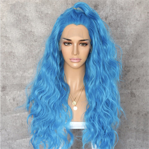 "Stuntin' Blue Wavy 24"" Lace Front Wig"
