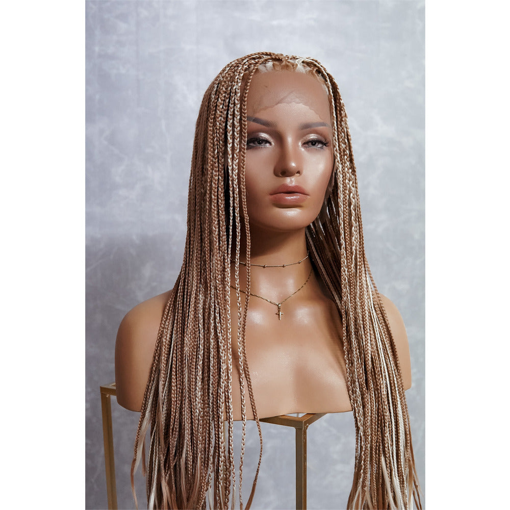 "PHOENIX Caramel Braided 26"" Lace Front Wig"