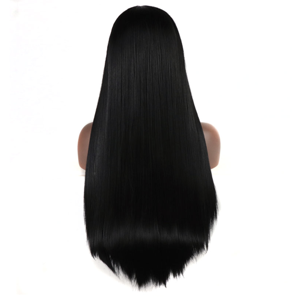 "Pitch Black Straight Fringe 24"" Lace Front Wig"