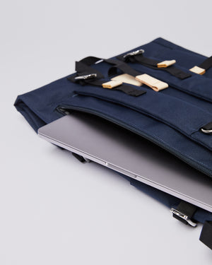 Bernt Rolltop Backpack | Navy Blue & Beige Recycled Nylon - Noli