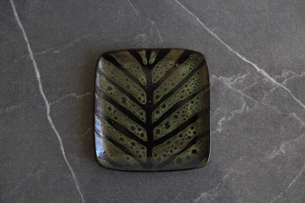 Small 'Ruutu' Green Leaf Platter - Noli