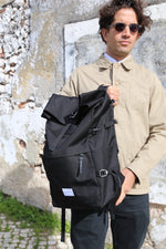 Bernt Rolltop Backpack with Leather | Black Recycled Nylon - Noli