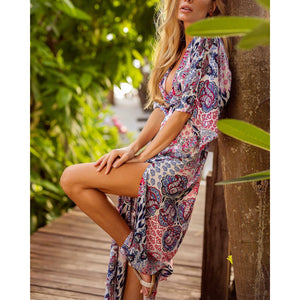 ca819225e8 Bohemia Sexy Backless Lacing Split Printing Beach Vacation Dress