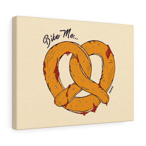 Bite Me Pretzel Canvas Gallery Wraps