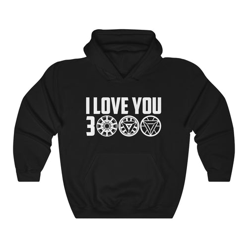 Inspired by Avengers Endgame, I Love You 3000 Tony Stark Iron Man Unisex Heavy Blend™ Black Hooded Sweatshirt is the perfect gift for the one who loves you tons!