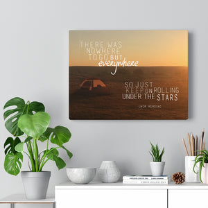 Everywhere, Jack Kerouac Quote On The Road Canvas Wall Art