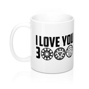 I Love You 3000 white ceramic mug 11oz black text iron man tony stark avengers endgame