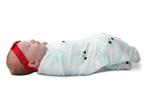 iSwaddle Owl Print Muslin Swaddle Blanket - 100% Cotton