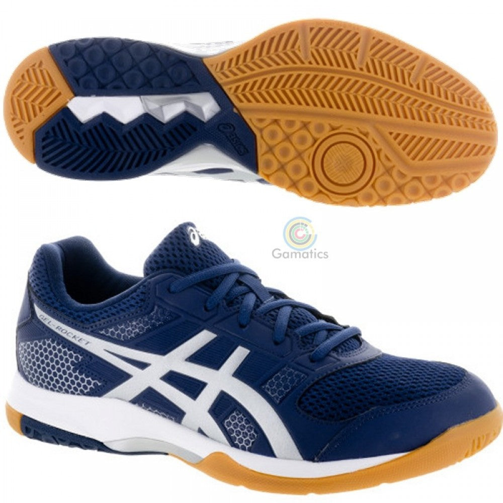 Asics Men's Gel-Rocket 8 Indoor Shoes ( Indigo Blue, Silver and White )