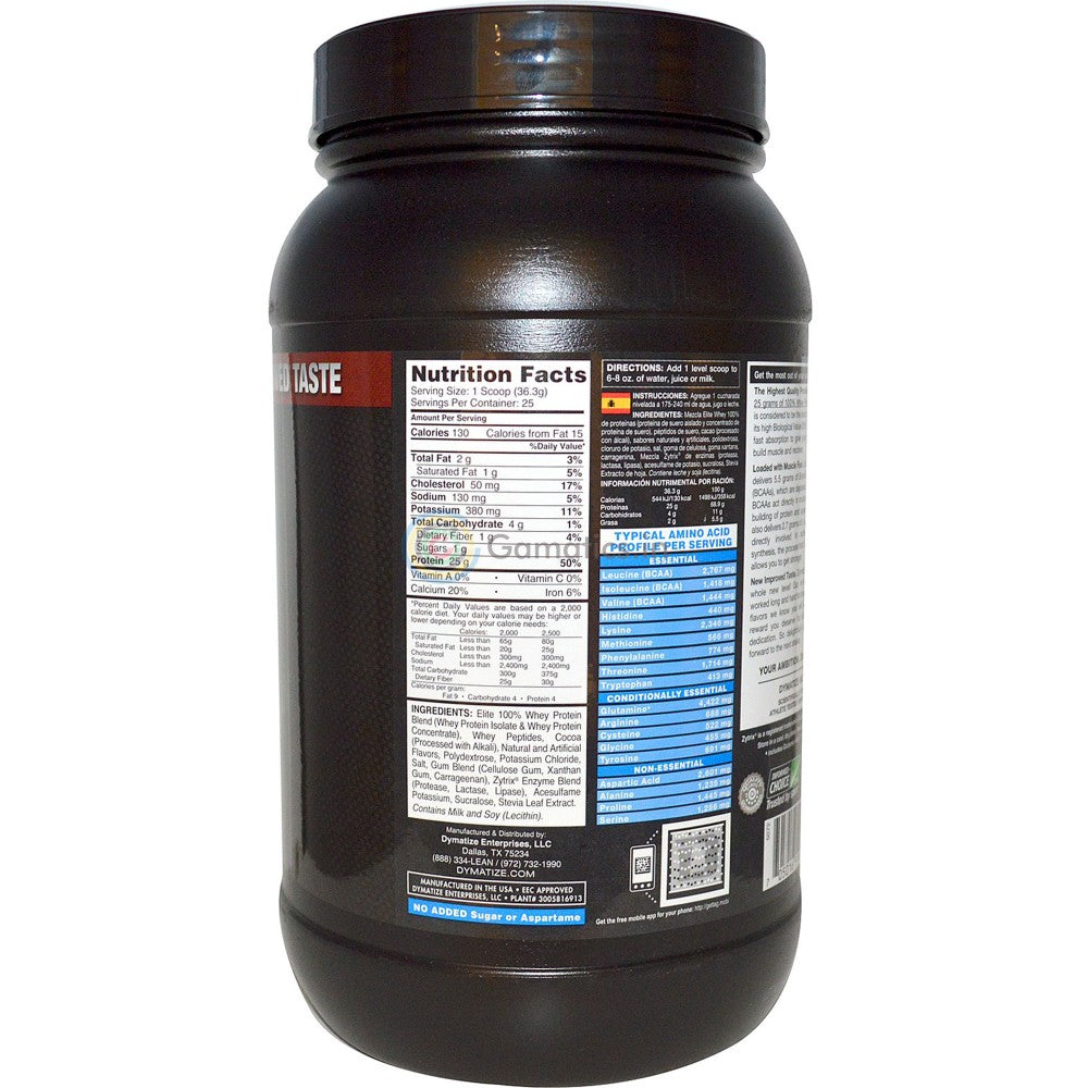 Dymatize Elite 100% Whey Protein, Chocolate Fudge