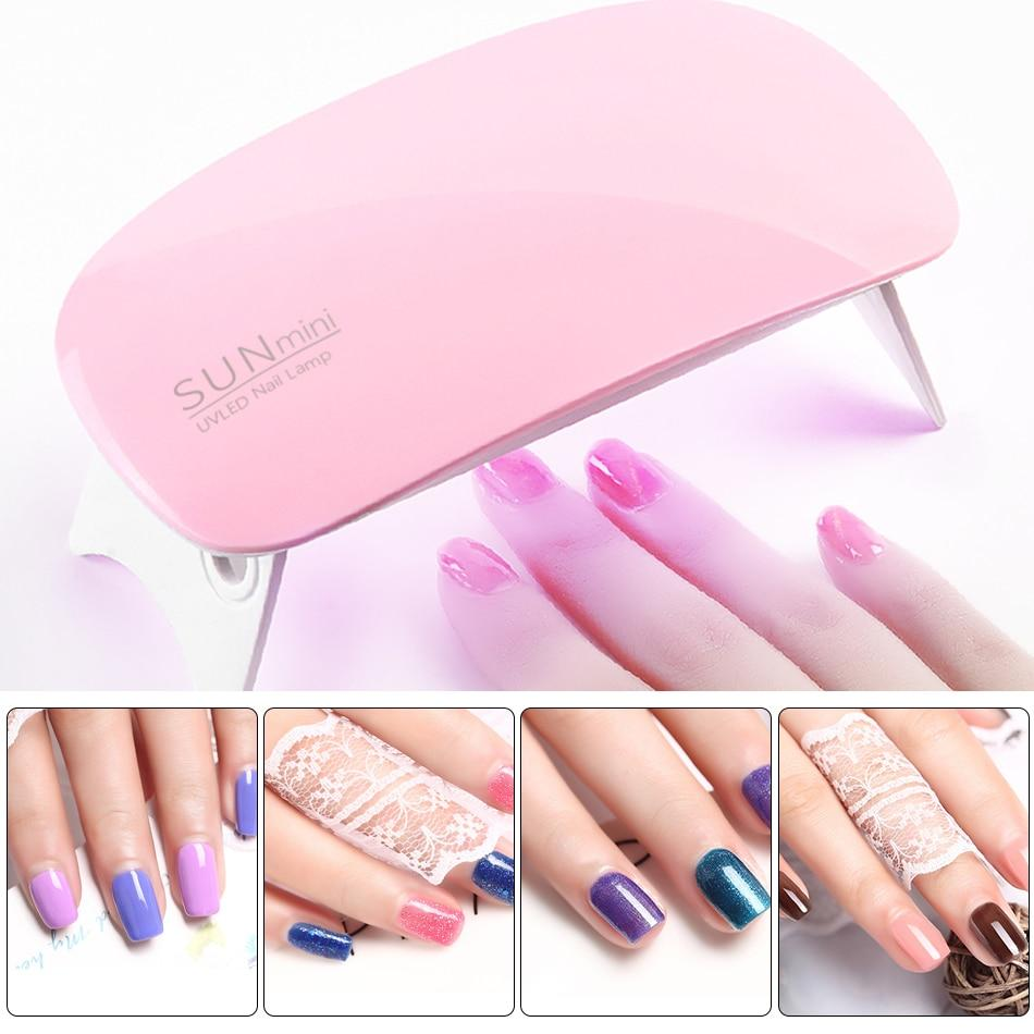 Mini Nail Dryer LED UV Lamp 6W Micro USB Gel Nail Art Tools 6 LEDs ...