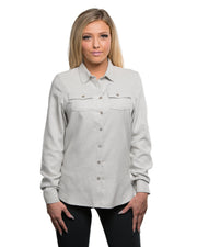 B5200 - Ladies Solid Long Sleeve Flannel Shirts - Stone