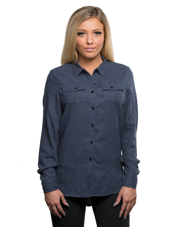 B5200 - Ladies Solid Long Sleeve Flannel Shirts - Denim