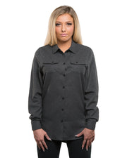 B5200 - Ladies Solid Long Sleeve Flannel Shirts - Charcoal