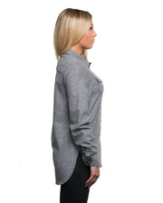 B5200 - Ladies Solid Long Sleeve Flannel Shirts - Heather Grey