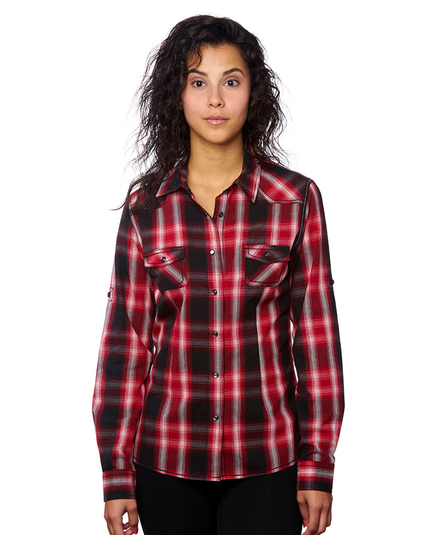 B5206 Ladies Long Sleeve Western Plaids - Red