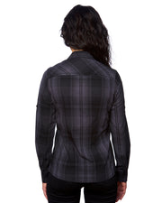 B5206 Ladies Long Sleeve Western Plaids - Black