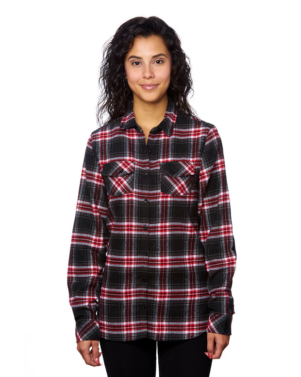 B5210 - Ladies Plaid Flannel Shirts - Red