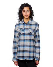 B5210 - Ladies Plaid Flannel Shirts - Grey/Blue