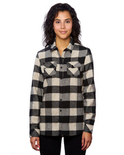 B5210 - Ladies Plaid Flannel Shirts - Ecru/Black