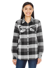 B5210 - Ladies Plaid Flannel Shirts - Black/Grey