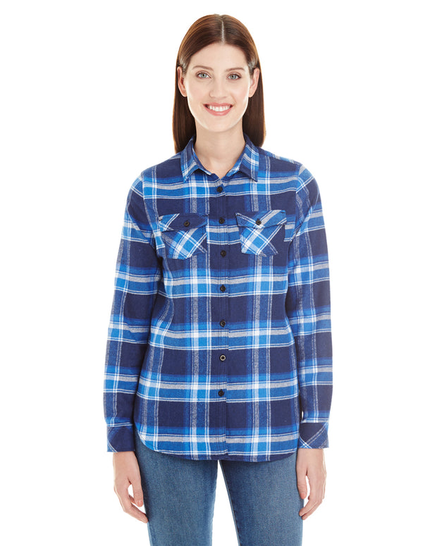 B5210 - Ladies Plaid Flannel Shirts - Blue/White